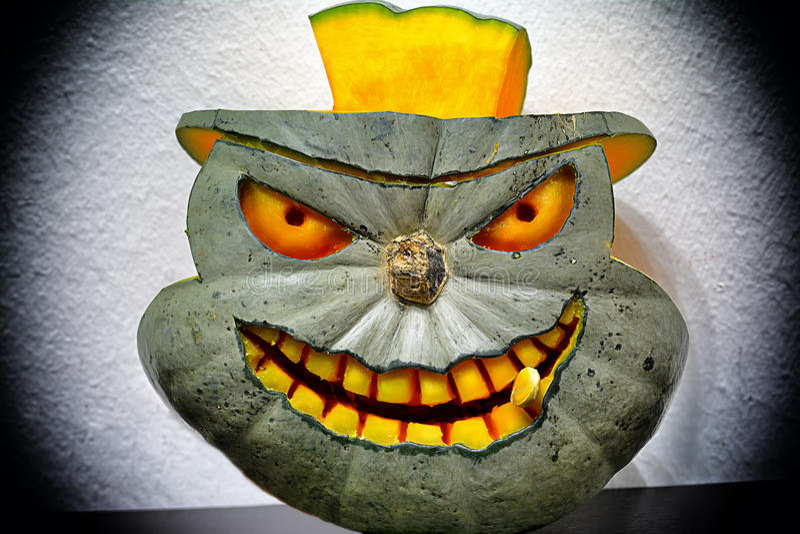 3D carved Halloween pumpkin image libre de droits