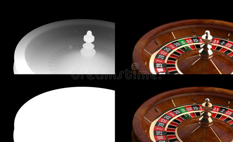 3D Casino Roulette with Alpha channel and Z-Depth stock photos