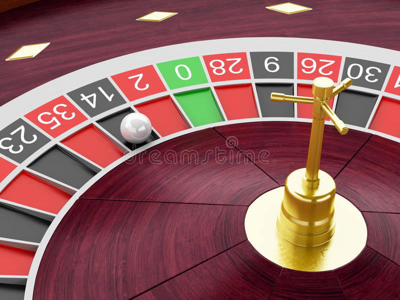 3d Casino roulette wheel with ball on number 14. 3d renderer image. Casino roulette wheel with ball on number 14. Gambling games royalty free illustration