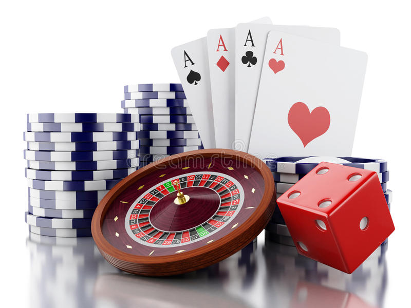 3d Casino roulette wheel with chips, poker cards and dice. 3d renderer image. Casino roulette wheel with chips, poker cards and dice. Gambling games. white royalty free illustration