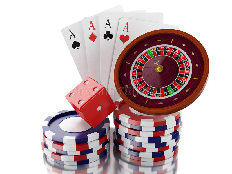 3d Casino Roulette Wheel With Chips Poker Cards And Dice Stock Illustration Illustration Of Chips Gamble 73432629