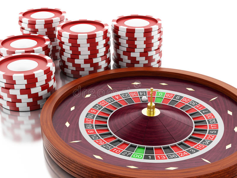 3d Casino roulette wheel with chips. vector illustration