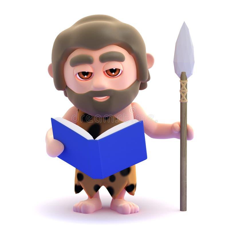 Download 3d Caveman czyta książkę ilustracji. Ilustracja złożonej z kreskówka - 42525076