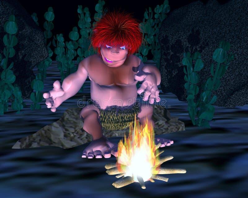 3d caveman mienie odkrywa ogienia z pełnym tłem ilustracja wektor