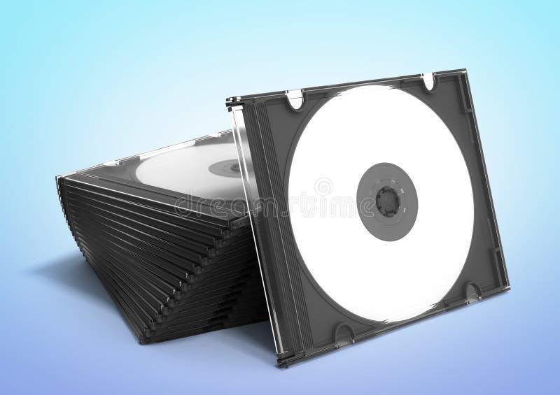 3D cd skrzynki otwierają na gradientowym tle royalty ilustracja