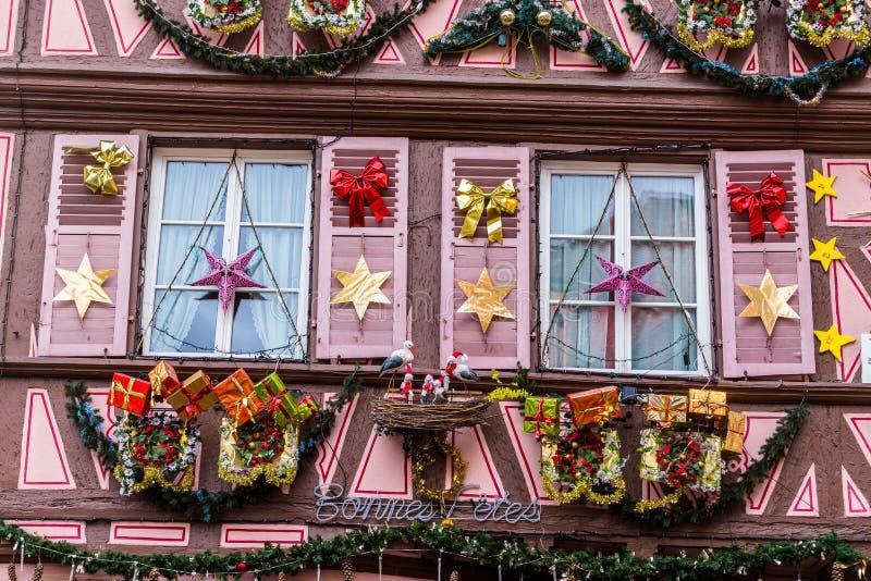 20 d?cembre 2018 Décorations sur le marché de Noël à Strasbourg photo stock