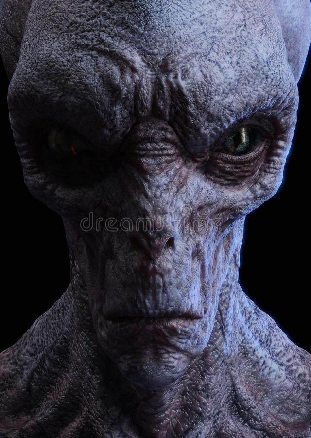 Portrait of an alien face. 3D CG Portrait of an alien face isolated on black background stock illustration