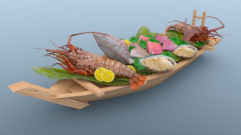 Assorted sashimi. 3D CG rendering of the assorted sashimi vector illustration