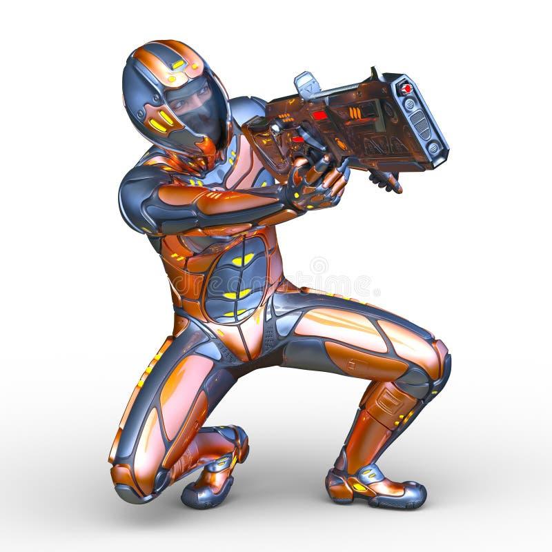 3D CG rendering cyber m??czyzna ilustracji
