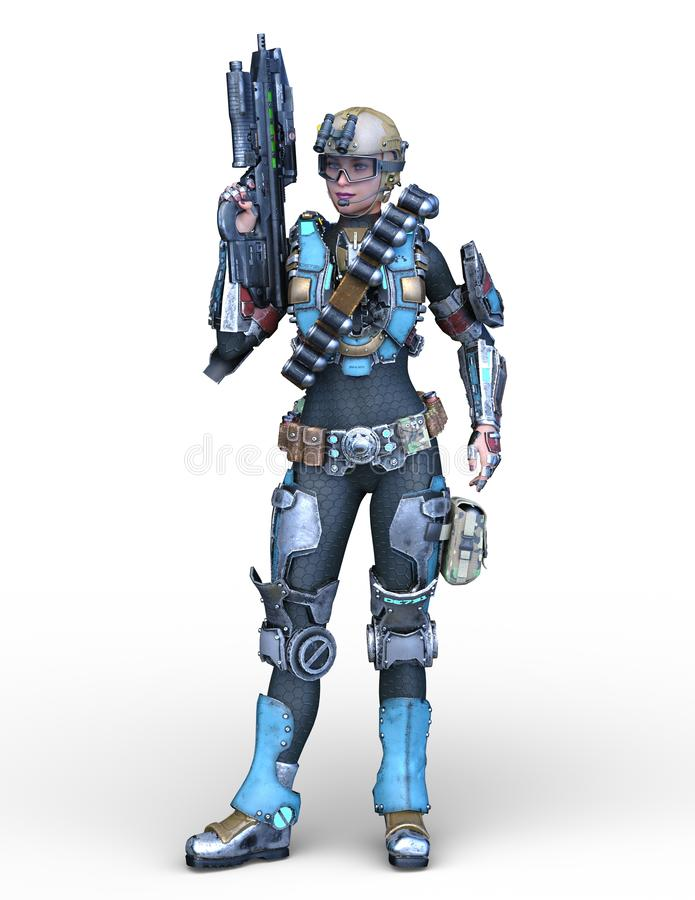 3D CG rendering cyborg kobieta ilustracja wektor