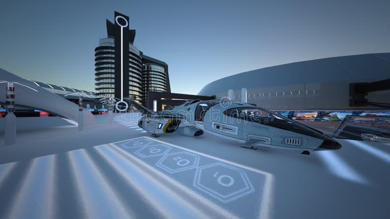 Future city. 3D CG rendering of the future city stock photos