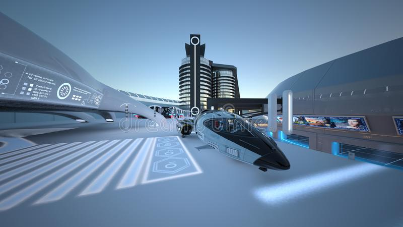 Future city. 3D CG rendering of the future city stock photography