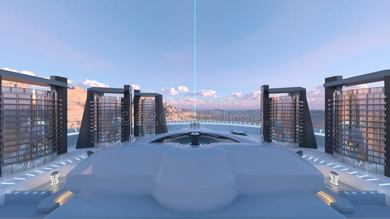 Future city. 3D CG rendering of the future city stock image