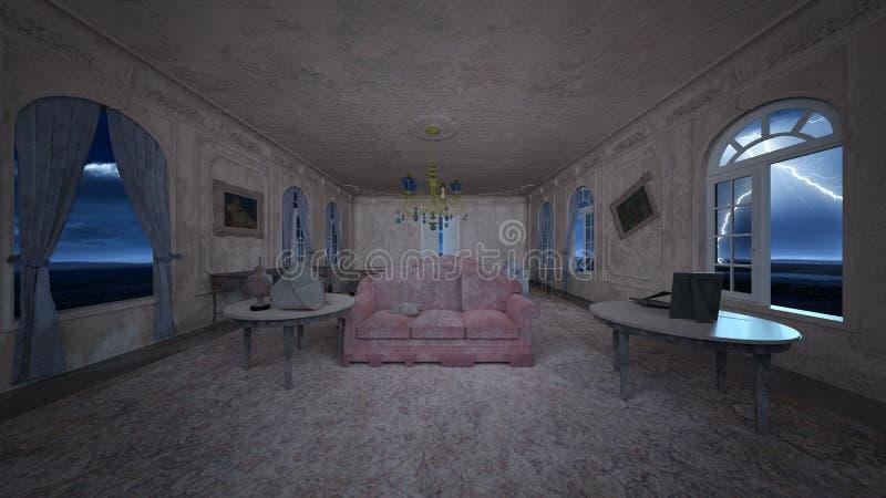 3D CG rendering horroru dom royalty ilustracja