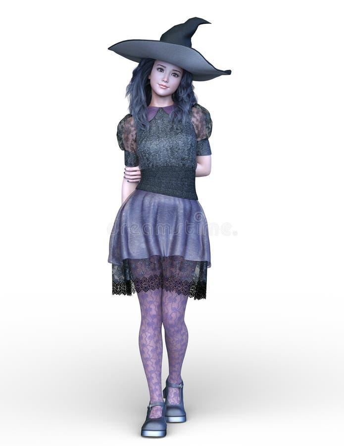 3D CG rendering of Magical girl vector illustration