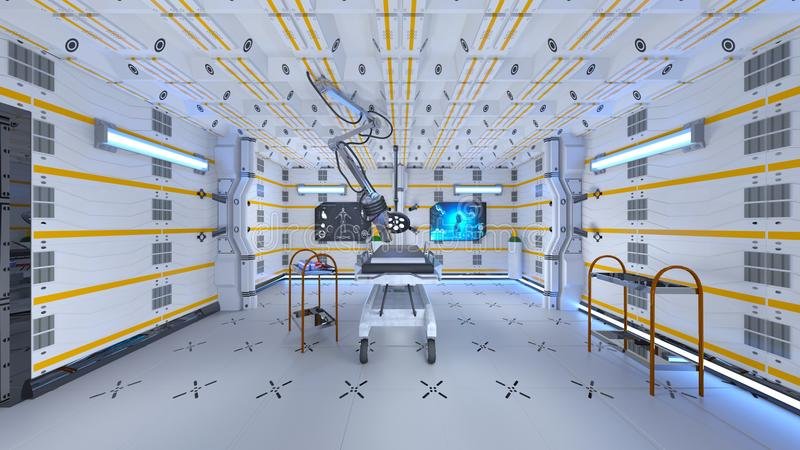 Operating room. 3D CG rendering of the operating room vector illustration