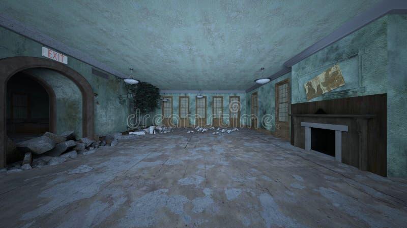 3D CG rendering rujnujący dom ilustracji