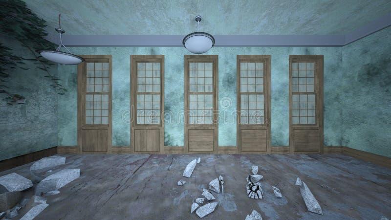 3D CG rendering rujnujący dom ilustracja wektor