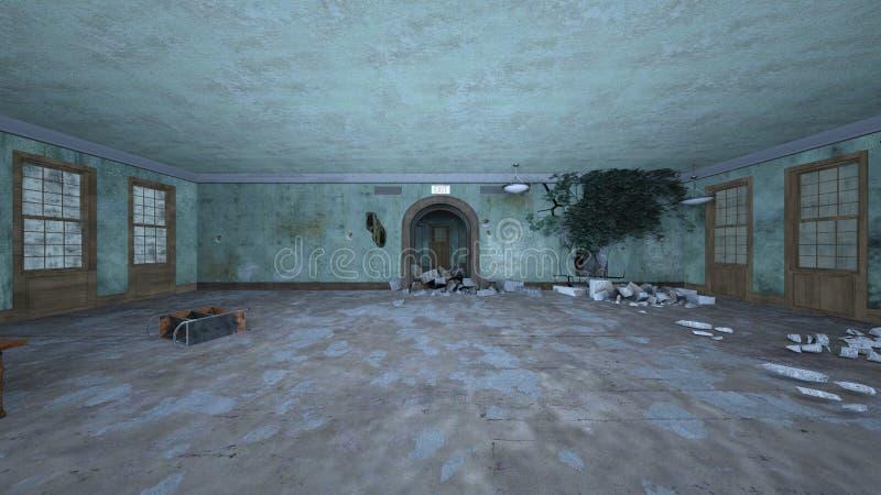 3D CG rendering rujnujący dom royalty ilustracja