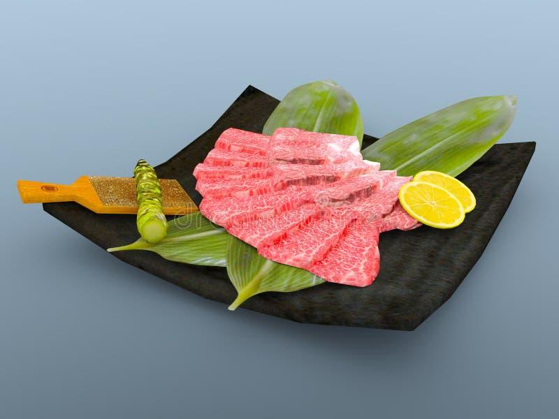 Sashimi. 3D CG rendering of the sashimi vector illustration