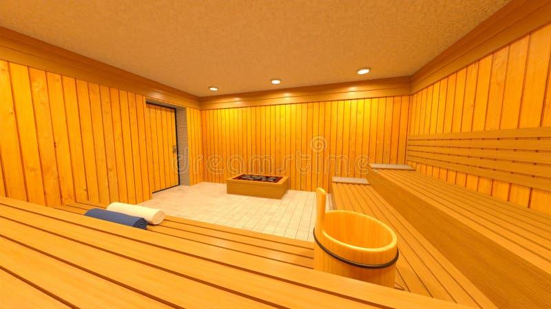 3D CG rendering Sauna ilustracja wektor
