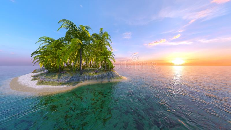 3D CG rendering of solitary island.  royalty free illustration