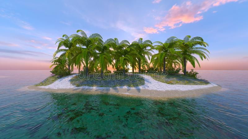 3D CG rendering of solitary island.  vector illustration
