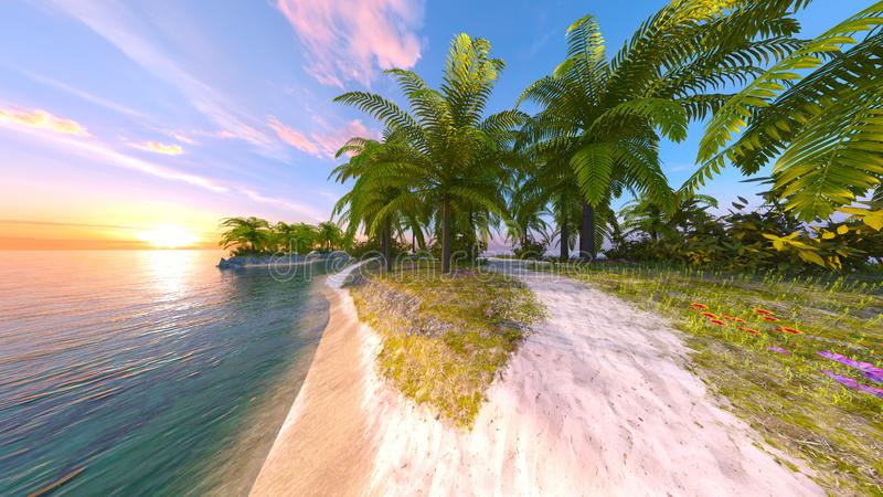 3D CG rendering of solitary island.  stock illustration