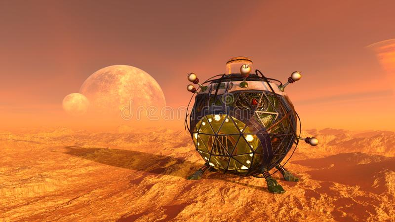 3D CG rendering of space ship stock illustration
