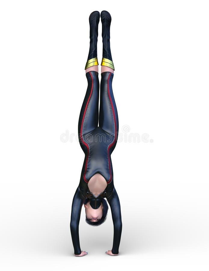 3D CG rendering super kobieta ilustracja wektor