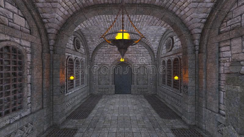 Underground fortress. 3D CG rendering of the underground fortress vector illustration