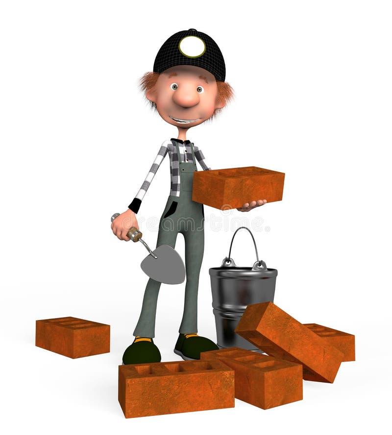 3d chłopiec budowniczy. ilustracji