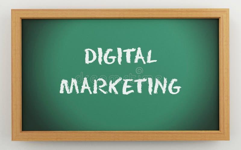 3d chalkboard z Cyfrowego marketingowym tekstem royalty ilustracja