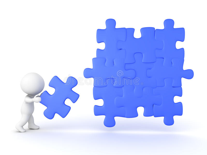 3D Character adding a piece to a jigsaw puzzle vector illustration
