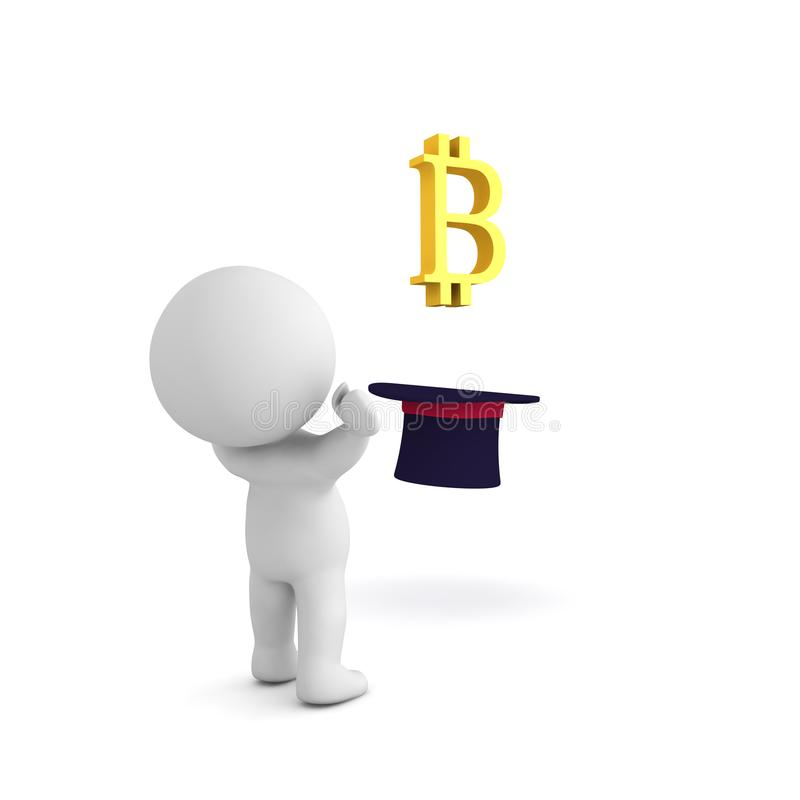 3D Character in awe of bitcoin logo emerging from top hat. Isolated on white royalty free illustration