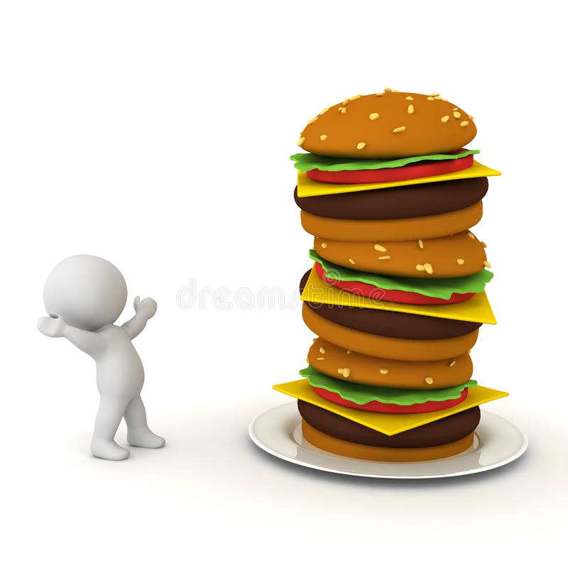 3D Character is in awe of burger stack. 3D Rendering isolated on white vector illustration