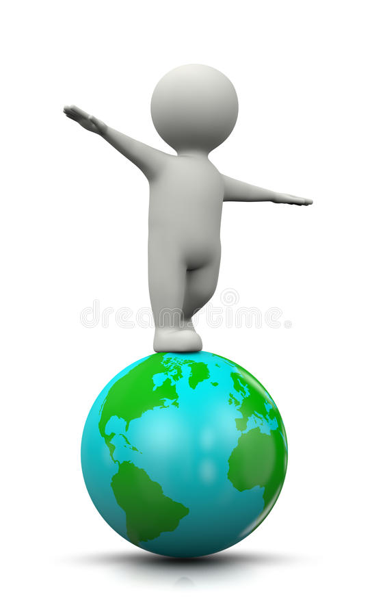 3D Character Balanced on the World vector illustration