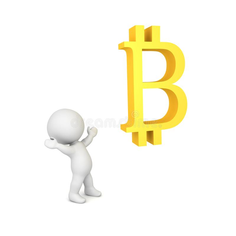 3D Character being in awe of bitcoin symbol. Isolated on white stock illustration