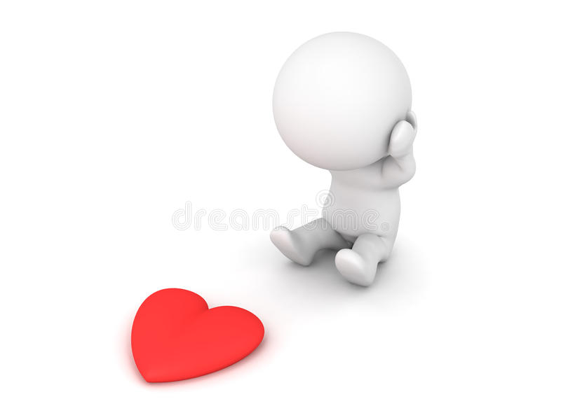 3D Character being broken hearted stock illustration