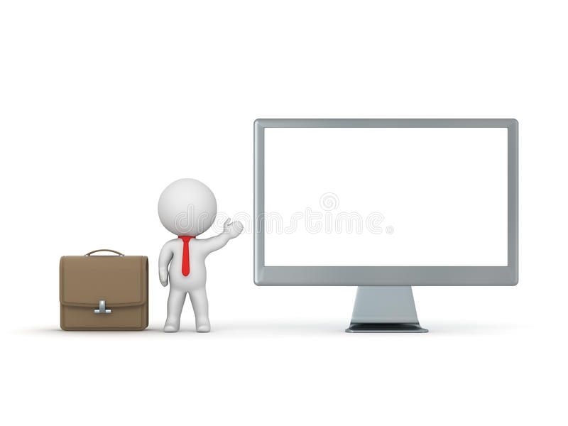 3D Character Businessman Showing Computer Monitor vector illustration