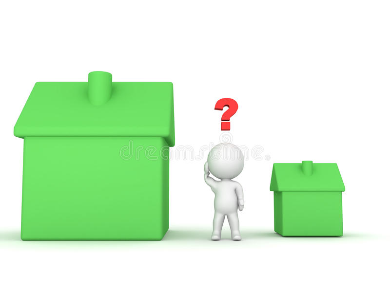 3D Character can`t choose between small and large house vector illustration