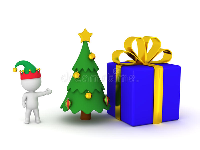 3D Character with a Christmas Tree and a Large Wrapped Gift vector illustration