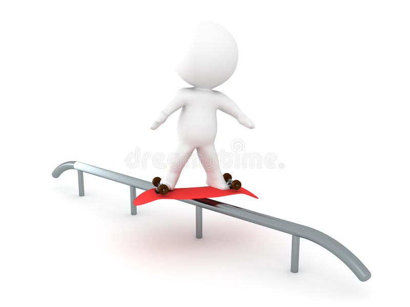 3D Character doing a darkside grind on a rail with a skateboard. Image depicting extreme sports royalty free illustration