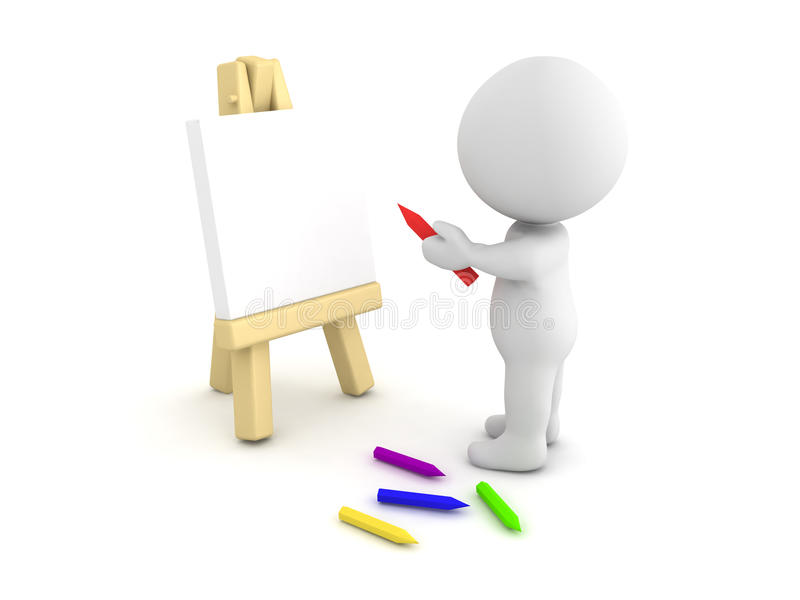 3D Character Drawing On An Easel Stock Illustration - Illustration ...