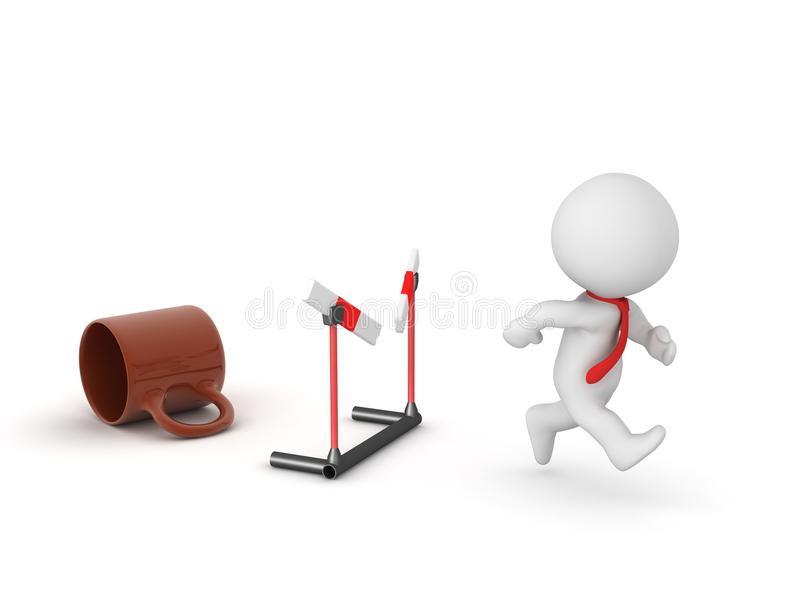 3D Character Energized and Running Through Barrier vector illustration