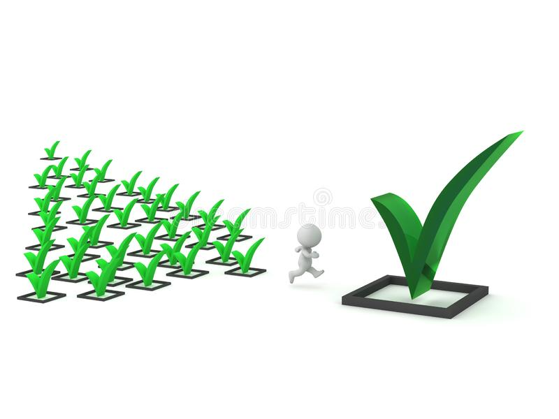 3D Character Finished Many Tasks and Running Toward Large Task Completion. 3D character running and finishing tasks. Isolated on white background stock illustration