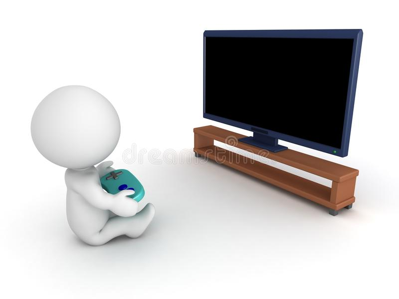 Download 3D Character With Gamepad And HDTV Stock Illustration - Image: 42882001