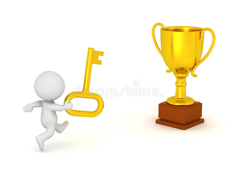 3D Character with Golden Key Running Toward Trophy vector illustration