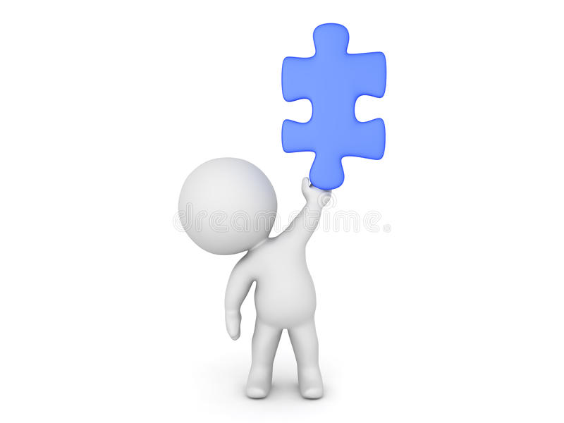 3D Character holding up a blue jigsaw puzzle piece vector illustration