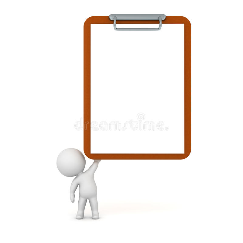 3D Character Holding Up Large Empty Clipboard stock illustration